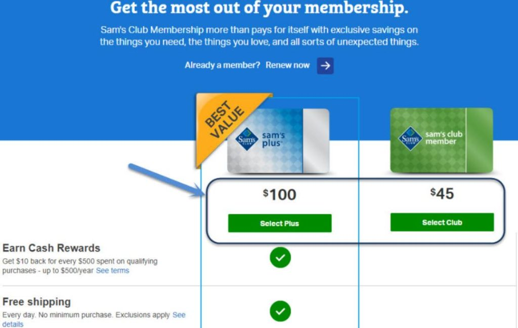 select sam's club membership plan
