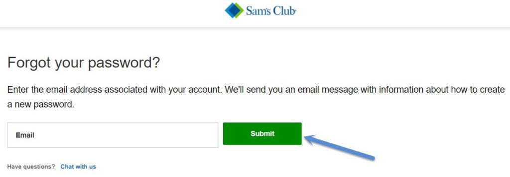 reset www.samsclub.com password