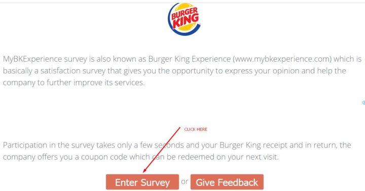 Enter Survey Button On BKExperience.com