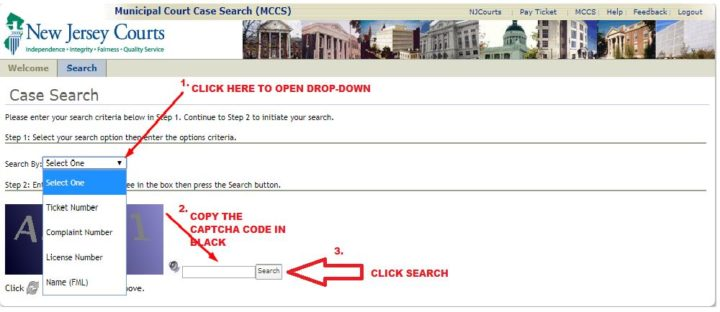njmcdirect case search on Municipal Court website